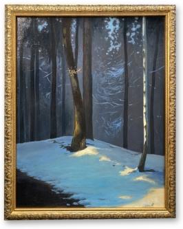 Frankowski, Andrej: Dammeberge Wald, Öl. Acryl auf Leinwand,  40 x 50 cm, gerahmt, handsigniert, Unikat
