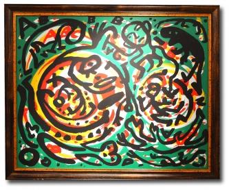 Penck, A.R. , Farblithographie, Galerie-Rahmen mit entspiegeltem Museumsglas