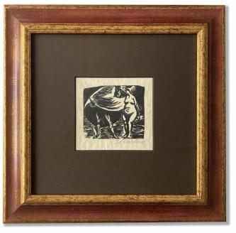 Barlach, Ernst: Faustus, Lithographie auf Papier, 33 x 32 cm, Rahmengröße, handsigniert, handwerklich gerahmt hinter Museumsglas