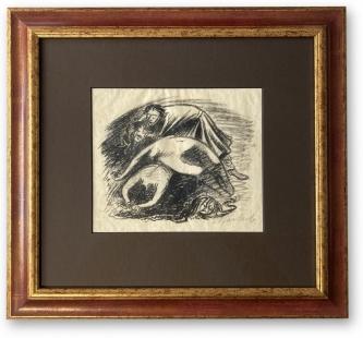 Barlach, Ernst: Trauer, Lithographie auf Papier, 43 x 44 cm, Rahmengröße, handsigniert, handwerklich gerahmt hinter Museumsglas