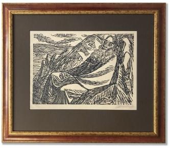 Barlach, Ernst: Der 7. Tag, Holzschnitt auf Papier,  60 x 52,5 cm, Rahmengröße, handsigniert, handwerklich gerahmt hinter Museumsglas