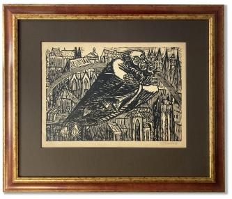 Barlach, Ernst: Schwebender Gottvater, Holzschnitt auf Papier,  60 x 52,5 cm, Rahmengröße, handsigniert, handwerklich gerahmt hinter Museumsglas