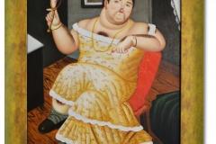 Botero, Fernando: Dressed up - Kopie, Öl auf Leinwand, 30 x 40 cm, gerahmt, Unikate Kopie von H. Bacall im Stil Boteros
