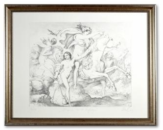 Lenk, Eberhard, Diana mit Gefolge, Radierung, 36/40, handsigniert, 39 x 49 cm, gerahmt, Museumsglas