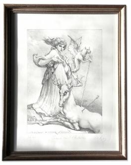 Lenk, Eberhard, Diana und  Actaeon, Radierung, 36/40, handsigniert, 39 x 49 cm, gerahmt, Museumsglas