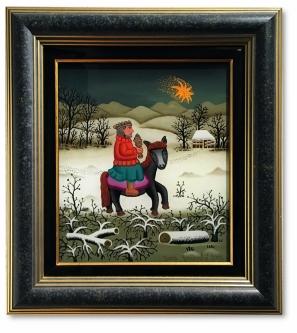 """Generalić, Josip, """"Heiliger König"""", Hinterglas, gerahmt, 33 x 35 cm, Unikat des kroatischen Großmeisters der Naiven Kunst"""