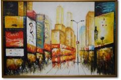 NYC, 188 x 128 cm Acryl auf Leinwand, Keilrahmen mit Leerrahmen, gold