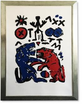 Penck,  A. R., Lithographie auf Papier, 97 x 136 cm , handsigniert, Galerierahmung, entspiegelt, UV-geschützt