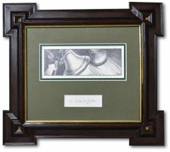 Zander, Heinz: Süßer die Glocken, Bleistiftzeichnung, Unikat, Original der Illustration für das Weihnachtsliederbuch, 31 x 26 cm, gerahmt, Museumsglas